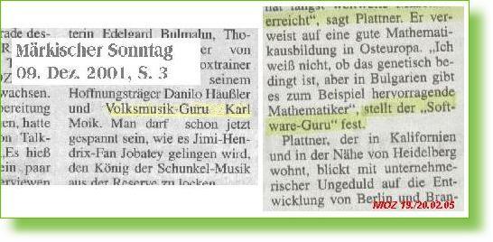 Zeitungsausrisse 2001 und 2005