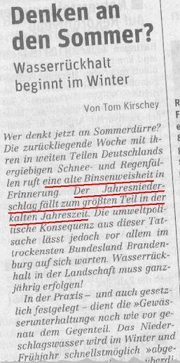 Ausschnitt Tageszeitung ND (Neues Deutschland) 02.01.2006, Klick zeigt Gesamtausschnitt