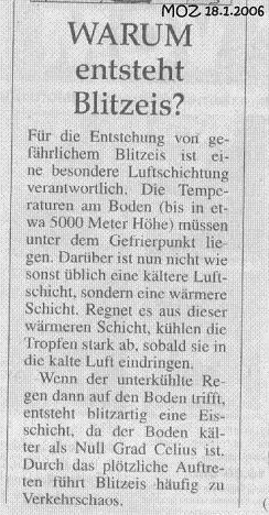 Kinderseite der Märkischen Oderzeitung am 18.01.2006