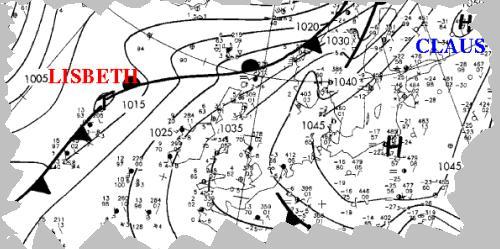Ausschnitt aus Wetterkarte 23.01.2006