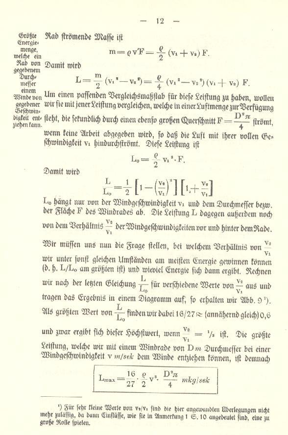 Reprint der Betz-Schrift von 1926, Seite 12