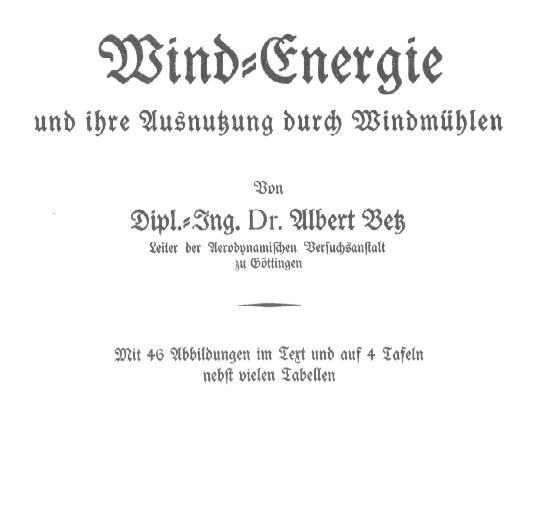 Reprint der Betz-Schrift von 1926