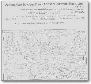Ausschnitt Titelseite Wetterkarte DWD (Hamburg) 1978