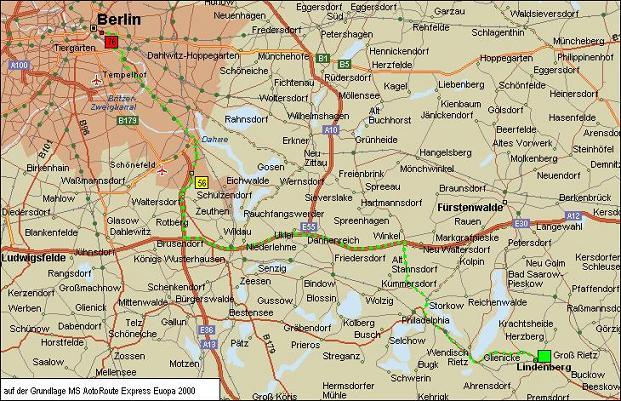 Anfahrt vom Flughafen Berlin-Schönefeld bzw. BBI (56 km) oder Berlin-Innenstadt (76 km)