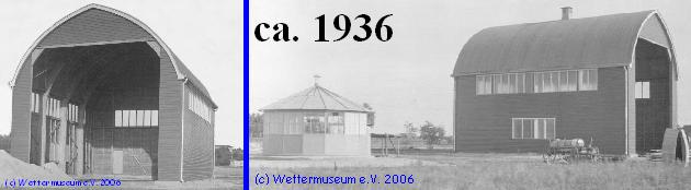 Ansicht von West und von Ost (mit Windenhaus), Fotos: Fotoplattenarchiv des Observatoriums, Digitalisierung (c) Wettermuseum e. V. Lindenberg)
