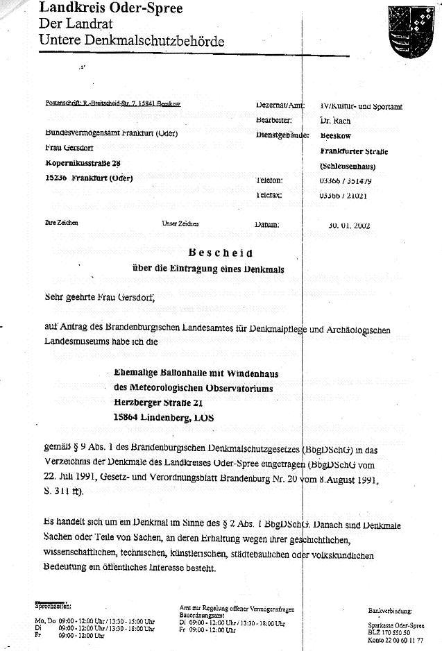 Unterschutzstellung Januar 2002