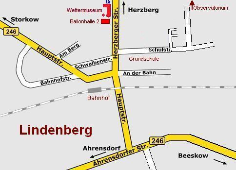 grober Straßenplan von Lindenberg mit Parkplatz