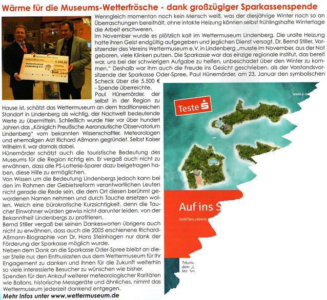 Ausriss  Märkische LebensArt Februarheft 2007