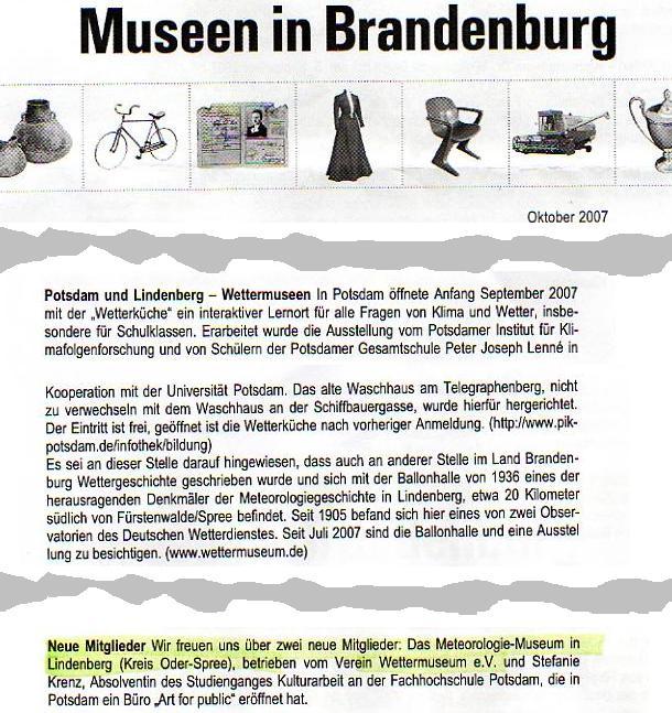 Ausriss Rundbrief Museumsverband