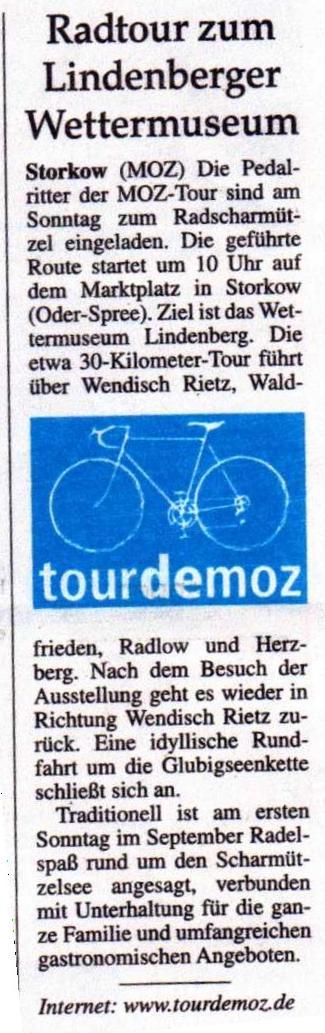 Ausriss MOZ, Ankündigung Radscharmützel