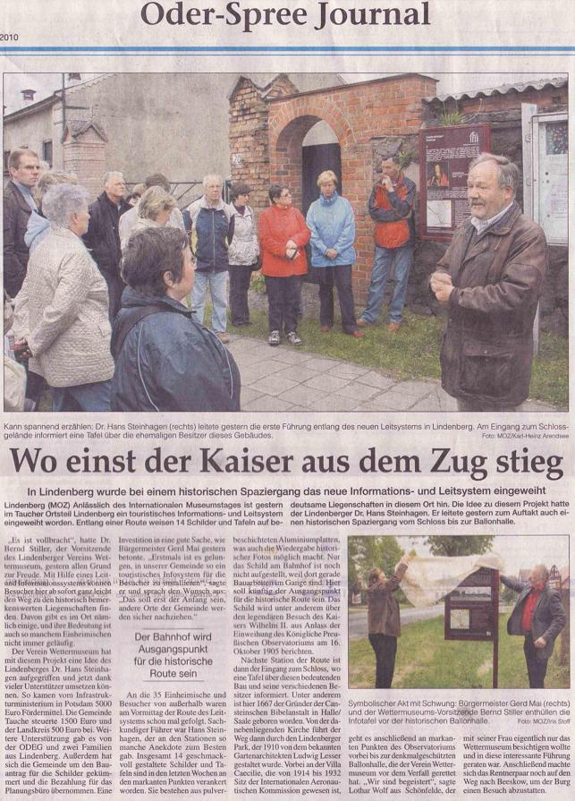 Ausriss aus Regionalzeitung MOZ