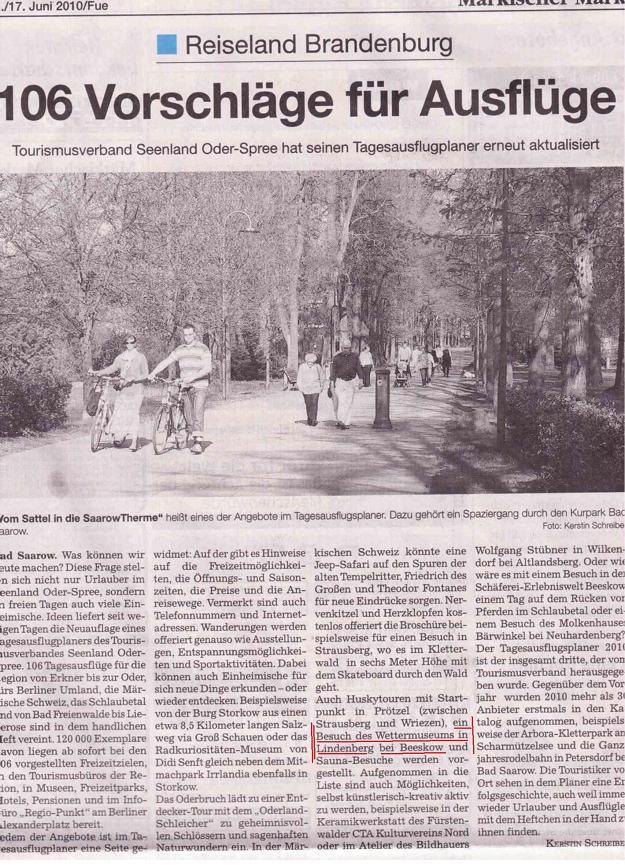 Ausriss aus Regionalzeitung Märkischer Markt ...