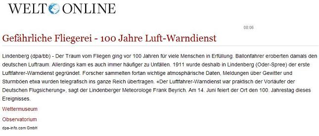 Screenshot Welt Online ...