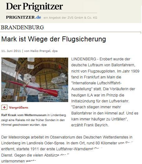 Screenshot Der Prignitzer Online ...