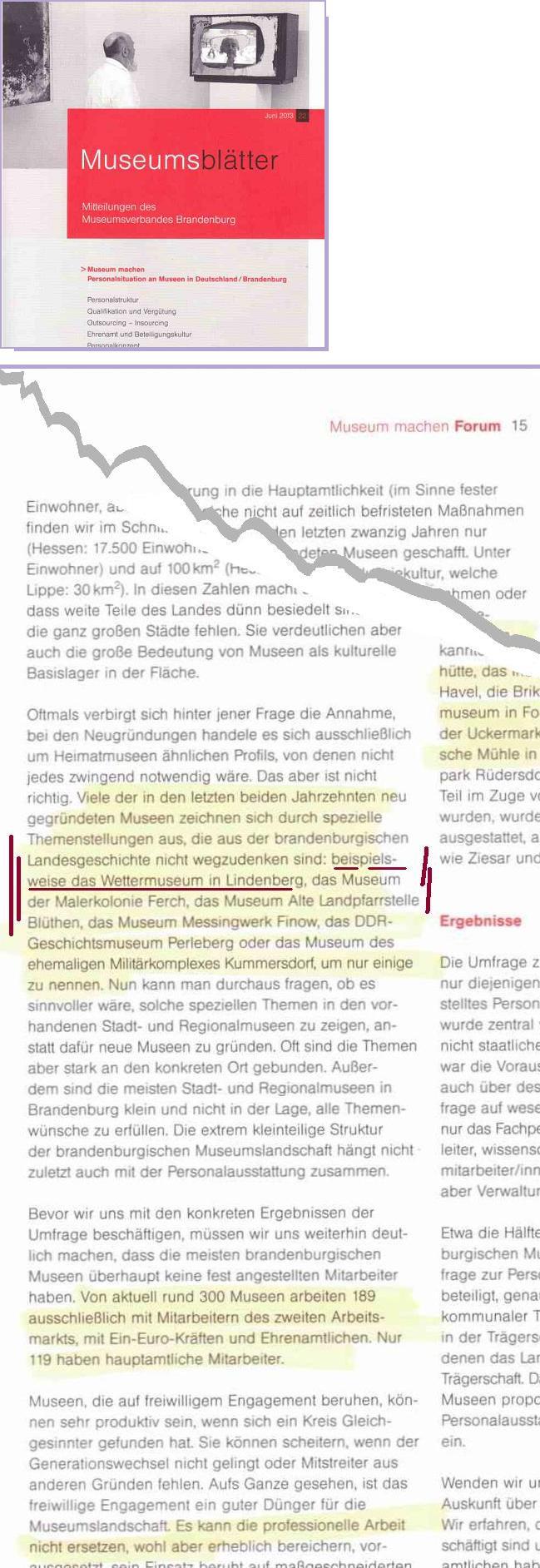 Titelseite und Ausriss Museumsblätter  ...