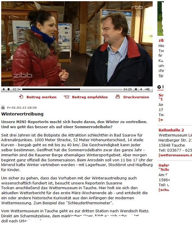Screenshot rbb Sendungsbericht