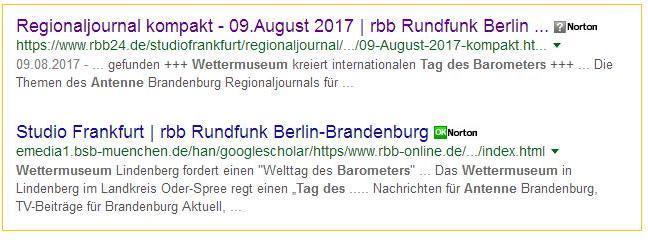 Google Einträge des RBB-Beitrags